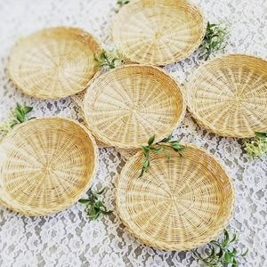 Vintage Chinese Set Of 6 Wicker Plates